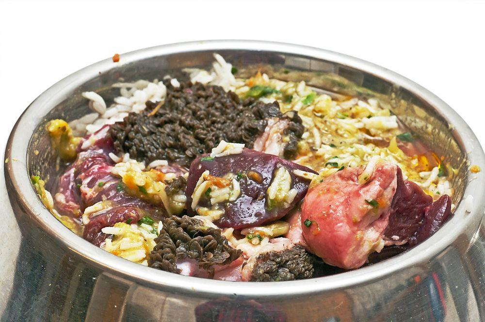 BARF rohes Fleisch, Gemüse, Getreide für den Spitz